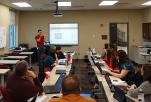 Paul Goodenough, Director of Instructional Technology, demonstrates how technology has the ability to enhance quality curriculum to Freshman Academy teachers.